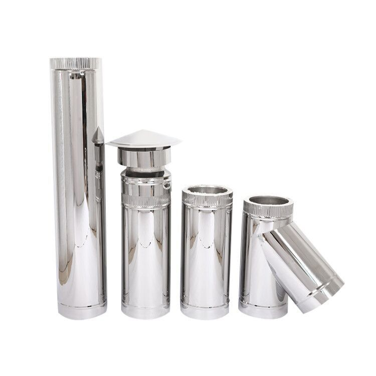 Roof Flashing Double Wall Stainless Steel Stove Pipe , Double Lined Flue Pipe System supplier